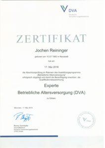 Zertifikat Betriebliche Altersvorsorge